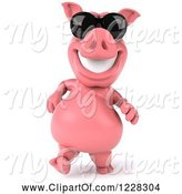 Swine Clipart of 3d Pink Pig Walking in Sunglasses by Julos