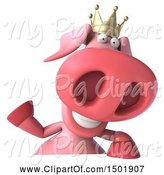 Swine Clipart of 3d Pink Pig Wearing a Crown, on a White Background by Julos