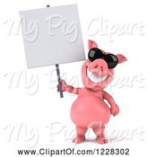Swine Clipart of 3d Pink Pig Wearing Sunglasses and Holding a Sign by Julos
