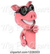 Swine Clipart of 3d Pink Pig Wearing Sunglasses and Looking Around a Sign by Julos