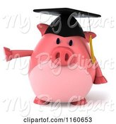 Swine Clipart of 3d Pointing Graduation Pig Wearing a Cap and Tassel by Julos