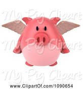 Swine Clipart of 3d Pookie Pig Angel Flying 1 by Julos