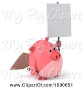 Swine Clipart of 3d Pookie Pig Angel with a Sign 4 by Julos