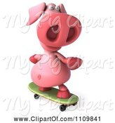 Swine Clipart of 3d Pookie Pig Skateboarding 2 by Julos