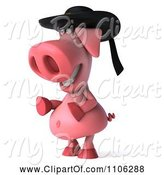 Swine Clipart of 3d Pookie Pig Wearing a Hat and Facing Left by Julos