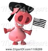 Swine Clipart of 3d Pookie Pig Wearing a Hat and Holidng a Breton Flag by Julos