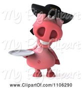 Swine Clipart of 3d Pookie Pig Wearing a Hat and Holidng a Plate by Julos