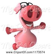 Swine Clipart of 3d Pookie Pig Wearing Glasses and Jumping by Julos