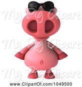 Swine Clipart of 3d Pookie Pig Wearing Shades and Facing Front by Julos