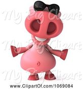 Swine Clipart of 3d Pookie Pig Wearing Shades and Welcoming by Julos
