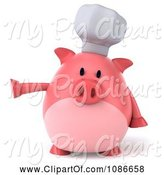 Swine Clipart of 3d Presenting Chef Pig by Julos