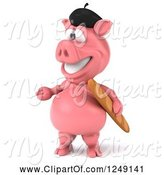 Swine Clipart of 3d Presenting French Pig with Bread 2 by Julos