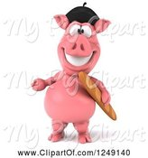 Swine Clipart of 3d Presenting French Pig with Bread by Julos