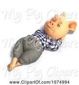 Swine Clipart of 3d Reclined Pig in Clothes 1 by Ralf61