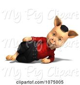 Swine Clipart of 3d Reclined Pig in Clothes 3 by Ralf61