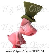 Swine Clipart of 3d Sad Irish Pig Facing Right and Pouting by Julos