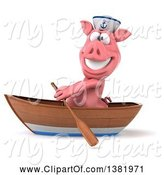 Swine Clipart of 3d Sailor Pig Rowing a Boat, on a White Background by Julos