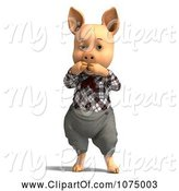Swine Clipart of 3d Shocked Pig in Clothes by Ralf61