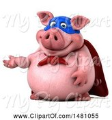 Swine Clipart of 3d Super Chubby Pig, on a White Background by Julos