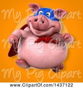 Swine Clipart of 3d Super Hero Chubby Pig by Julos