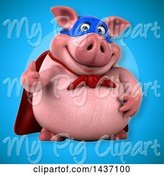 Swine Clipart of 3d Super Hero Chubby Pig Giving a Thumb up by Julos