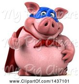 Swine Clipart of 3d Super Hero Chubby Pig Giving a Thumb Up, on a White Background by Julos