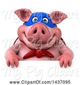 Swine Clipart of 3d Super Hero Chubby Pig, on a White Background by Julos