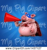 Swine Clipart of 3d Super Hero Chubby Pig Using a Megaphone by Julos