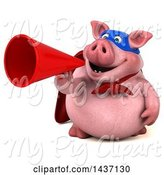 Swine Clipart of 3d Super Hero Chubby Pig Using a Megaphone, on a White Background by Julos