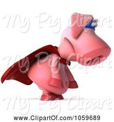 Swine Clipart of 3d Super Hero Pookie Pig Pouting by Julos