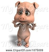 Swine Clipart of 3d Surprised Cute Pig by Ralf61