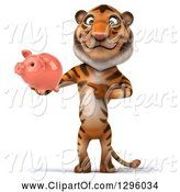 Swine Clipart of 3d Tiger Holding and Pointing to a Piggy Bank by Julos