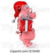 Swine Clipart of 3d Walking Christmas Pookie Pig Carrying a Present 2 by Julos