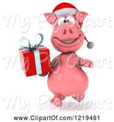 Swine Clipart of 3d Walking Christmas Pookie Pig Carrying a Present 3 by Julos