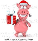 Swine Clipart of 3d Walking Christmas Pookie Pig Carrying a Present by Julos