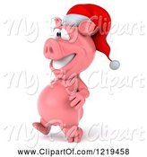 Swine Clipart of 3d Walking Christmas Pookie Pig Wearing a Santa Hat by Julos