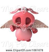 Swine Clipart of 3d Winged 3d Pookie Pig Flying Forward by Julos