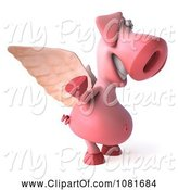 Swine Clipart of 3d Winged 3d Pookie Pig Waving by Julos