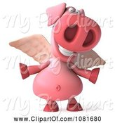 Swine Clipart of 3d Winged 3d Pookie Pig with Open Arms by Julos