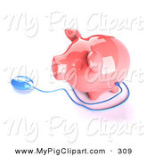 Swine Clipart of a 3d Blue Computer Mouse Around a Pink Piggy Bank Looking Left by Julos