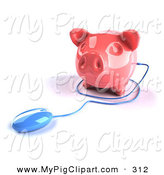 Swine Clipart of a 3d Blue Computer Mouse Around a Pink Piggy Bank on a White Background by Julos