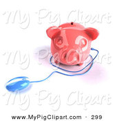 Swine Clipart of a 3d Blue Computer Mouse Around a Pink Piggy Bank on White by Julos