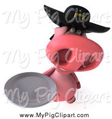 Swine Clipart of a 3d Breton Pig Holding a Plate by Julos