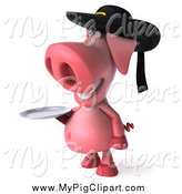 Swine Clipart of a 3d Breton Pig Wearing a Hat and Holding a Plate by Julos