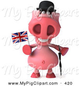 Swine Clipart of a 3d British Pig Character with a Little Union Jack Flag by Julos