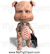 Swine Clipart of a 3d Business Pig by Ralf61