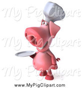 Swine Clipart of a 3d Chef Pig Holding a Plate and Facing Left by Julos