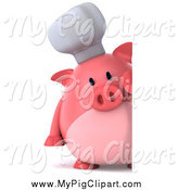 Swine Clipart of a 3d Chef Pig Looking Around a Sign by Julos