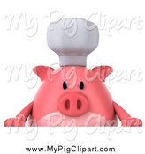 Swine Clipart of a 3d Chef Pig over a Sign by Julos
