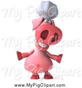 Swine Clipart of a 3d Chef Pig Shrugging by Julos